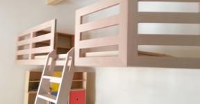 Kinder Einbau Hochbett freitragend Buche