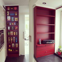 Küche Einbauschrank rot