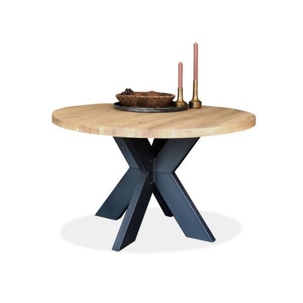 Esstisch Eiche Tischplatte rund Gestell XX-Metall Modell Estland